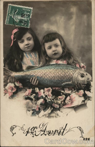 Two Little Girls Holding a Fish April Fools Day Cancelled on Front (COF)