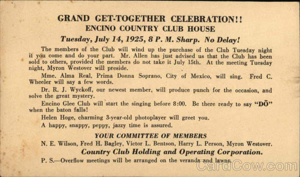 1925 Encino Country Club House Get Together California