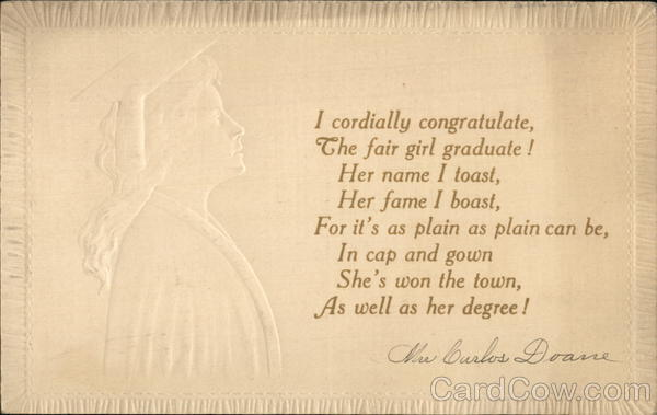 Embossed Profile of Woman in Graduation Hat and Gown