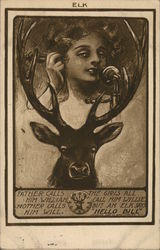 Young Woman on Phone Framed in Elk Antlers
