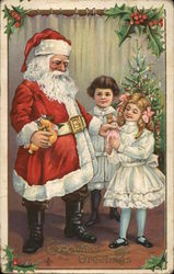 Santa and Two Children, Giving Girl a Doll