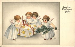 Four Angels in White Dresses Opening a Gift