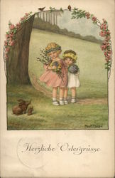 Two Young Children in a Field Near Bunnies and a Tree
