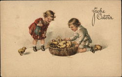 Frohe Ostern - Two Children Playing With Yellow Chicks in a Basket