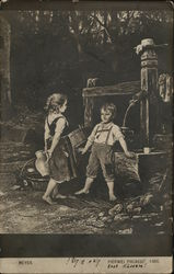 Little Girl with Water Jug and Little Boy at Well