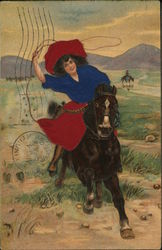 Young Woman on Horseback with Lasso in Air