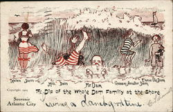 Five People Wearing Striped Swimsuits in the Water Postcard