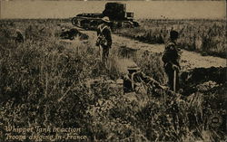 Soldiers in Field Watching Tank