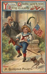 Boy Riding Stick Horse Holding American Flag