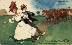 Startled Man and Woman Near Herd of Cows