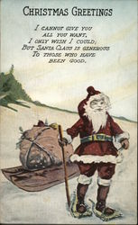 Santa Wearing Snowshoes with Bag of Toys on Sled