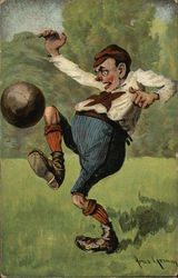 Funny Man Kicking a Ball