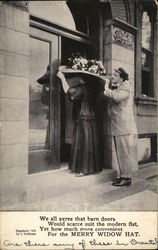 Man Standing Behind Woman With Hat Too Large for Doorway