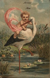 Blond Baby Riding on Stork's Back