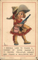 Cowgirl Caricature With Pistol