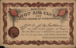 Buzzer's Hot Air Club and Grand Order of Windjammers Certificate