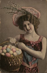Pretty Young Lady with Easter Eggs