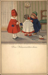 Three Little Girls Wearing Winter Coats and Hats