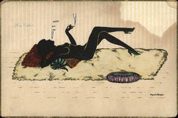 A Black Silhouette  Woman Laying on Rug