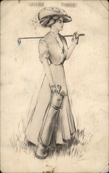 Woman in Hat Playing Golf