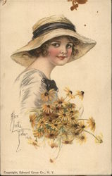 Girl in Hat Holding Yellow Flowers