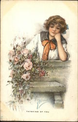 Young Woman Resting Head on Hand Near Roses