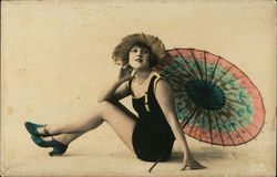 Pretty Young Lady in Bathing Suit ans parasol