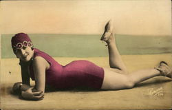 Art Deco Woman in a red Swimsuit