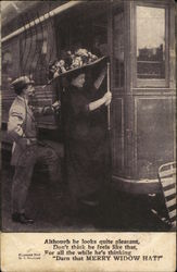Man Behind Woman in Large Hat Climbing Aboard Train