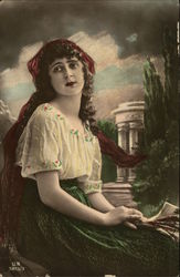 Young Woman in a White Blouse and Green Skirt