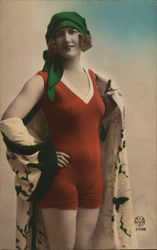 A Woman in a Red Swimwear