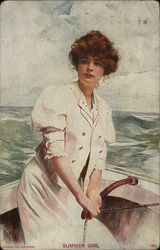 Young Woman Steering Boat