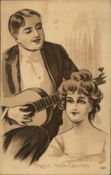 Man With Guitar Serenading Young Woman