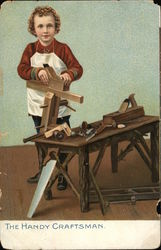 Boy Wearing Apron with Wood, Tools and Workbench