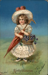 Young Girl in Dress Holding Umbrella and Basket of Grapes