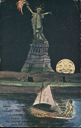 Man in Boat Near Statue of Liberty and Smiling Full Moon