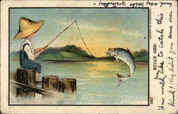 Boy Wearing Hat with Large Fish on end of Fishing Line