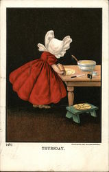 Faceless Girl in White Bonnet Using Rolling Pin at Table