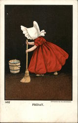 Little Girl Cleaning with Broom and Bucket of Water