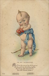 Baby Cupid Holding Two Hearts with Arrow