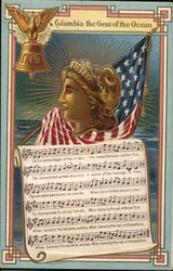 Eagle on Liberty Bell, American Flag, Female Statue Head and Sheet Music