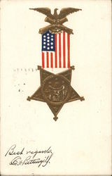Military Medal with U. S. Flag and Eagle