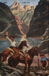 Two Cowboys with Horses - One Holding up a Bag