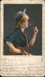 Woman Wearing Man's Hat and Bullet Belt Smoking a Cigarette