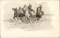 Cowboys Off For Town Postcard