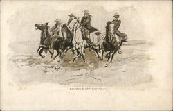 Group of Cowboys Riding Horses Postcard