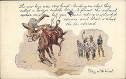 Man Being Flung off of HIs Horse in Mid-Air Postcard