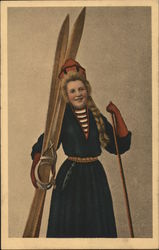 A Woman Posing with Skis