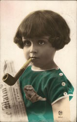 A Young Child Smoking a Pipe