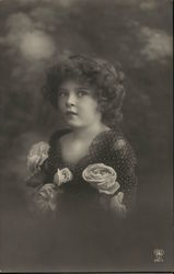 Curly-Haired Young Girl with Roses